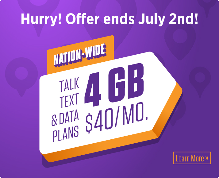 4 GB of data for only $40/month! Learn more